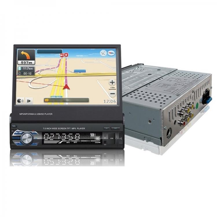 Единичен универсален дин AT179601 MP5, GPS, Bluetooth, 7 инча