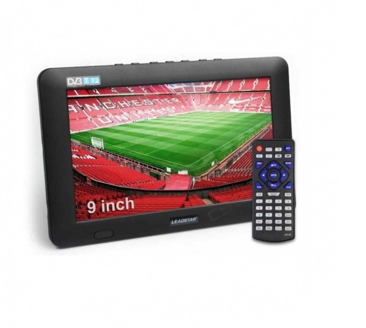 Портативен мултимедиен телевизор с цифров тунер DVB-T2 LEADSTAR D9 9 инча